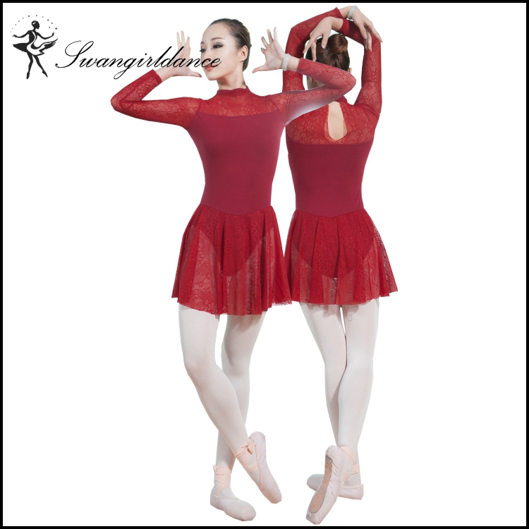 wholesale adult long sleeves training gymnastic ballet skirted lace leotards for dance with keyhole back