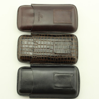 Delicate men's Leather Cigar carry Case For 3 Cigars