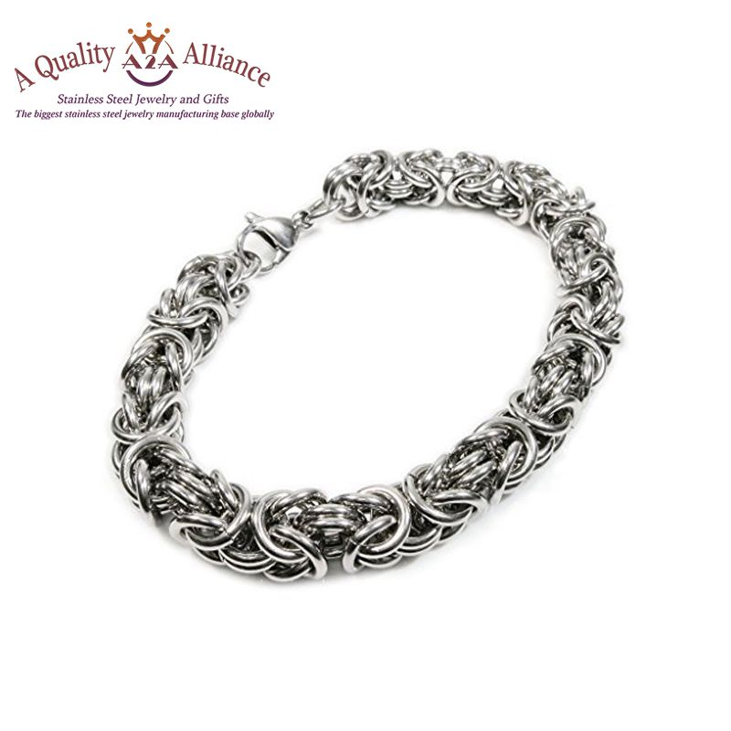 New style rigid and not easy to deform plain stainless steel bangle mens chain bracelet with charms