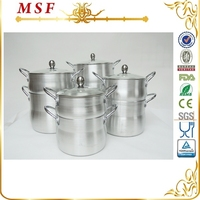 MSF 4L/6L/8L/12L latest aluminum steamer pot with satin finished interior and exterior