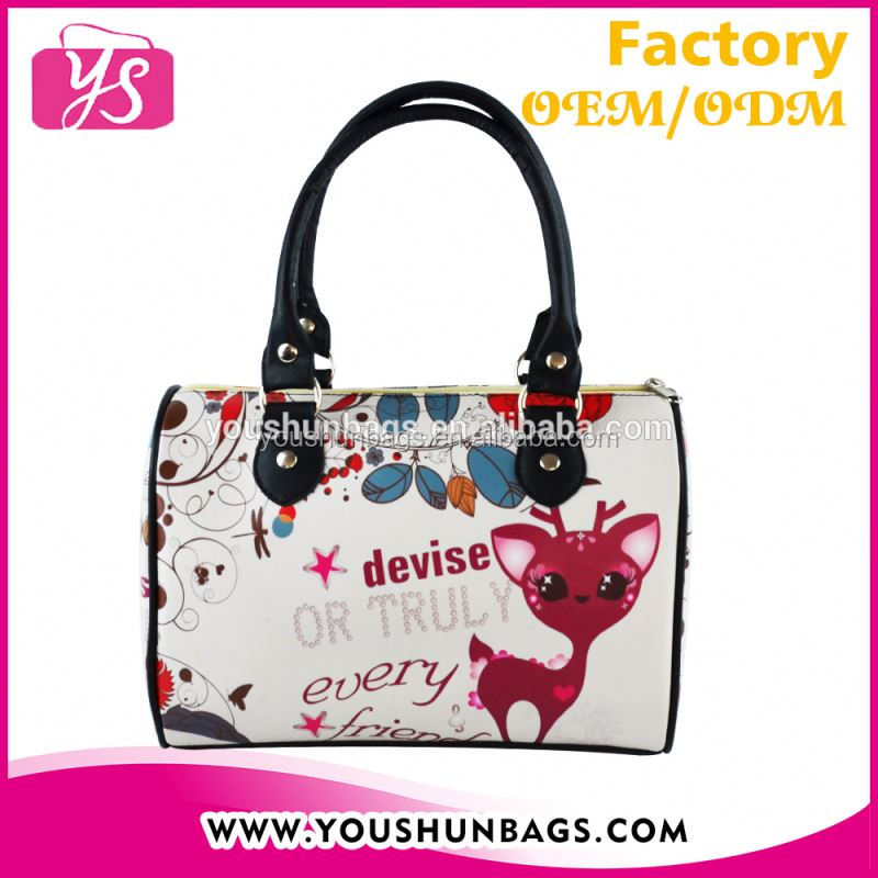 2016 Cartoon Deer Print Designer Handbags Authentic Boston Bag for Teenage Girls