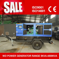 mobile trailer diesel genset with two wheels