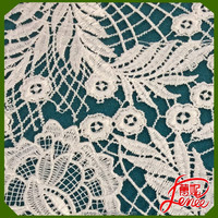 Flower Pattern Cotton Mix Polyester White Chemical lace Embroidery