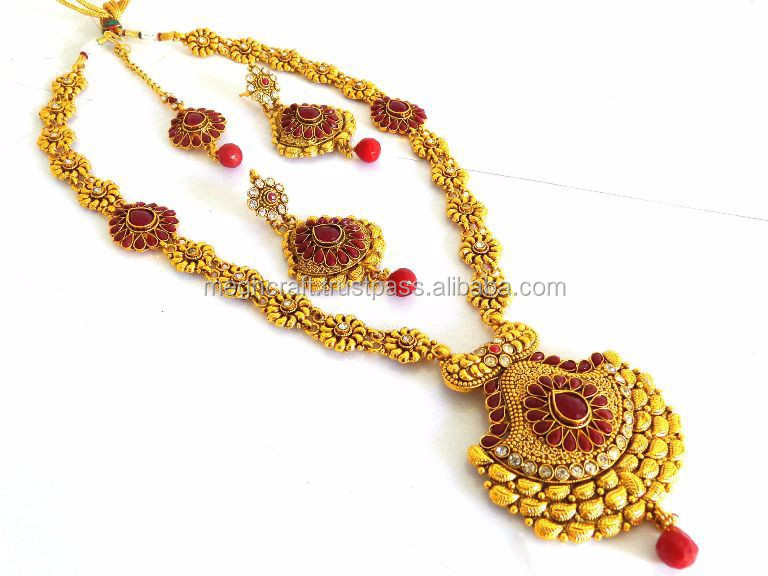 Wholesale one gram gold pearl long jewellery-South Indian rani haar set-3 layer bridal jewellery-imitation jewelry