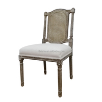 FN-6498 serious grand cane back square seat upholstered wooden chair