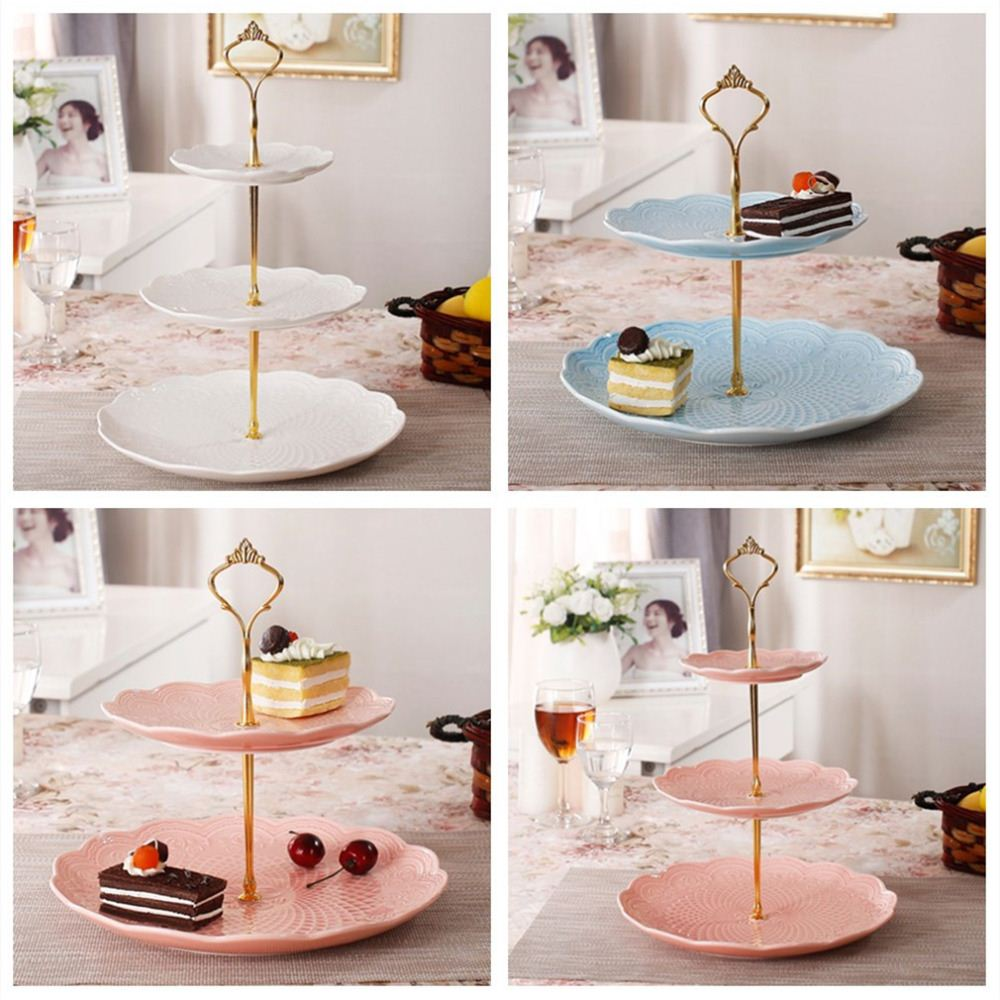 2016 new arrival Gold Crown 3 / 2 Tier Cake Fruit Plate Stand Handle Fitting Hardware Rod Plate Stand cake decorating tools