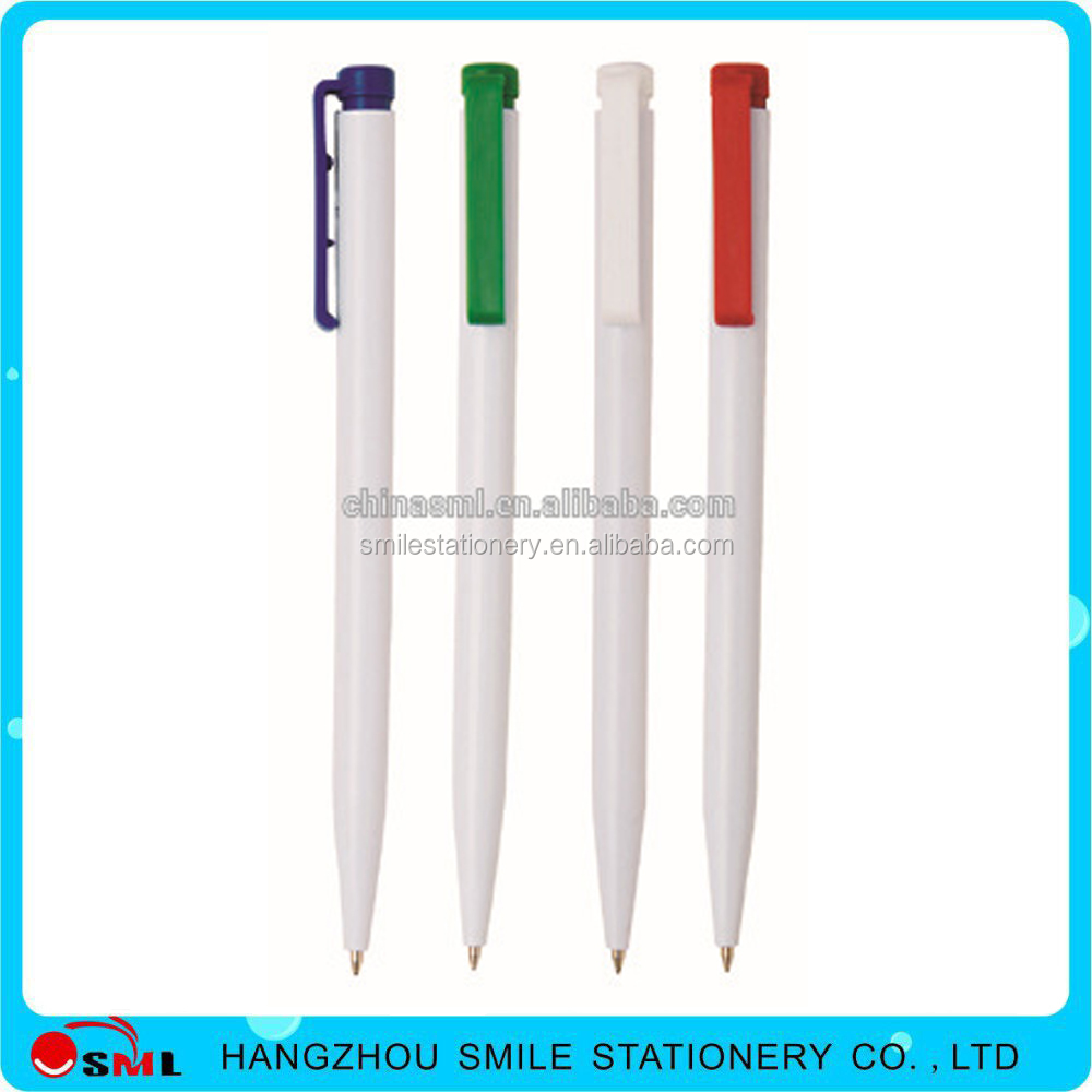 2016 Cheap simple plastic stick logo promotion automatic ball point pen
