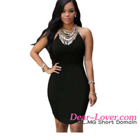 2016 Cheap Sexy Black Strap Back Hollow-out Dress ladies new model dress
