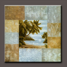 Pure hand-painted high quality Natural scenery coconut tree art painting