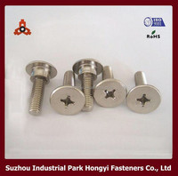 China Ikea Furniture Fasteners Flat Big Head Screws In Corss Recessed Construction