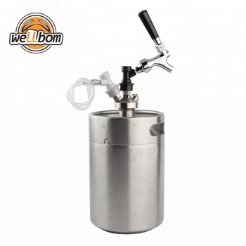 5L Mini Beer Keg Growler Dispenser with Draft beer tap and gas & Liquid ball lock Homebrew Beer