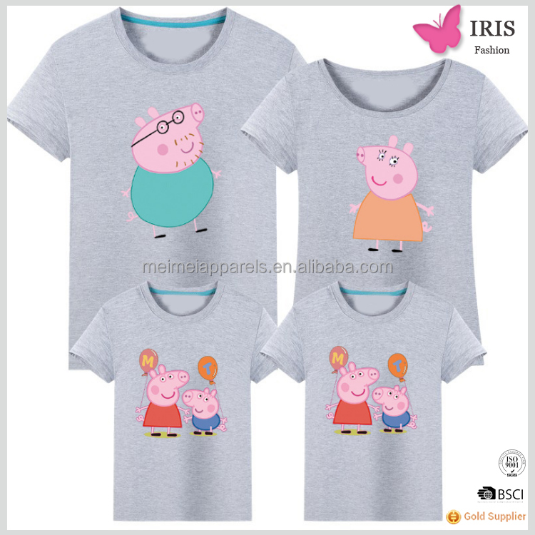 family matching clothing parent-child set couple casual little pink pig pettern t shirt