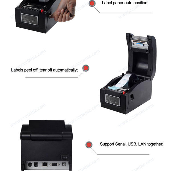 Best price 3 Interfaces User-friendly Direct Thermal Barcode Label Printer