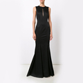 Stretch Silk Faille Long Black Dress