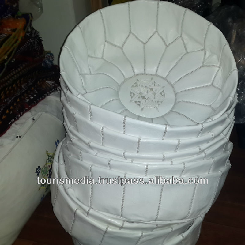 wholesaler of handmade moroccan white leather pouffe handstitched ottoman pouf footstool