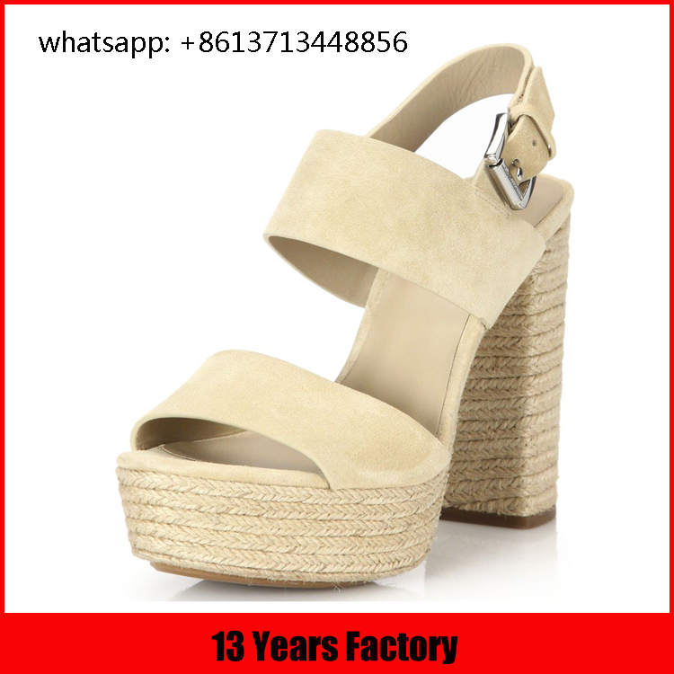 2016 new style high heel wedge sandals fashion flax covered heel and platform high heal shoe