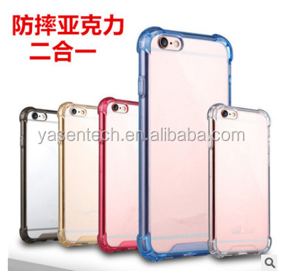 Slim Back Cover Slim Luxury hybrid case TPU PC +Acrylic Hard Clear Case For iPhone 6 6S For iPhone 6 Plus /6S Plus