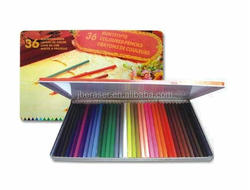 school sketch tin box packaged 12pcs wood lead color pencil