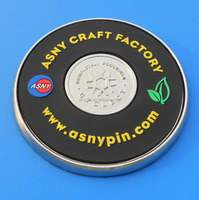 Asny craft factory logo pvc with metal drink coasters