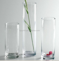 25cm 30cm 35cm hand made mouth blown multi size home decor clear cylinder glass vase