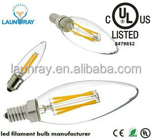 High Power Dimmable 220V Led Filament Bulb Lightings E12 E14 Base Led Dimmable Filament Candelabra 2W 4W 6W 120m/<strong>w</strong> Pf0.8 Ra90