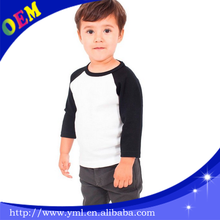 custom kids t shirts kids baby boys raglan sleeves 3/4sleeve tshirt