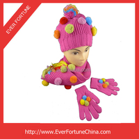 Fashion 100% Acrylic Knitted Hat/Cap /Scarf /Glove winter Gift Set