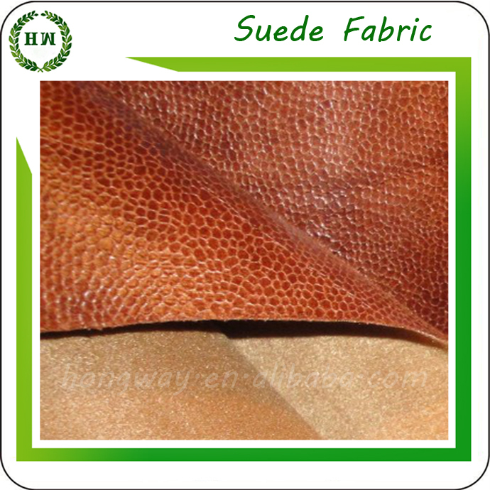 Hongway microfiber faux super absorbent suede fabric/cow split suede leather fabric/pu suede fabric/ultra suede fabric for sofa