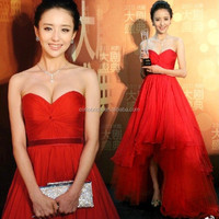 Beautiful Red Sweetheart Celebrity Dress Hi-Lo Sleeveless Backless Evening Dress