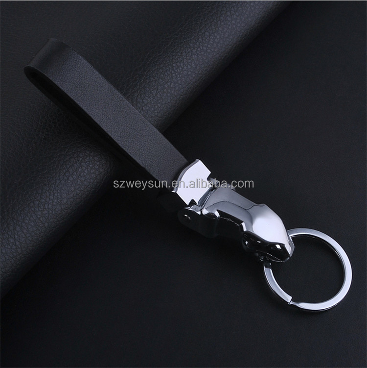 Novelty Souvenir Men's Leather Jaguar Keychain Parts Car Key Chain Personalized keychains Metal Trinket Valentine Gift