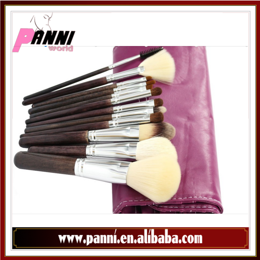 Professional 12Pcs Face Makeup Brush Set with Leather Bag Make Up Brushes