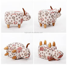 HW1A9418 Cheatpest price fast shipment hot popular pu leather indian cow ottoman foot stool cow leather pouf stool in wood legs