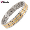 Two Tone Stainless Steel Bio Magnetic Mens Silver Gold Plated Bracelets