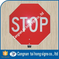 Warning signal prominent stop sign with reflecting aluminium