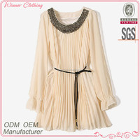 New Fashion Designed Ladies Beautiful Korean Style Long Sleeve Loose Fit Summer Dress with Pleats