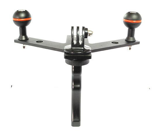 Diving flashlight double ball stand and camera tray