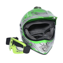 TCMT DOT Youth Green Flame Dirt Bike ATV Motocross Offroad Helmet MX+Goggle USA United state