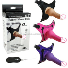 "6.3"" Inch 10 Model Vibrations Harness Silicone Strap on Dildo With 3 Colrs Available"