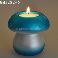 Hot sell Cute Home Decoration Glass Mushroom Candle Holder