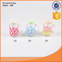 450ml juice glass handle cup with different pattern decal