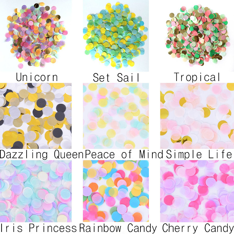 15g/polybag 2.5cm Hot Sale Mixed Colorful Tissue Glitter  Foil Confetti for Wedding Decoration