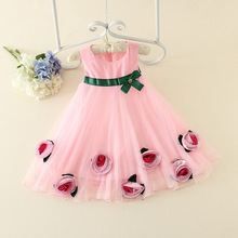 White Flower Petal Christening Girl Baby Cute Dress Summer Tulle Dress