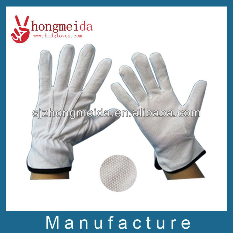 white cotton uniform for marching band gloves with dots on palm