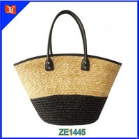 PU Leather Handle Latest Summer Ladies Cheap Straw Beach Bag
