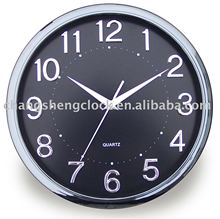 30cm black round wall clock