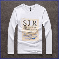 Custom design high quality printed men's long sleeve t shirt wholesale