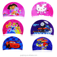 Popular cartoon fashion nylon spandex lycra high children swimming caps