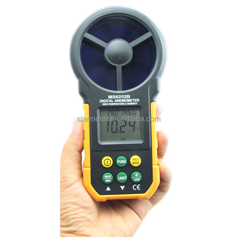 MS6252B Digital Anemometer Air Wind Speed Velocity Meter USB Interface