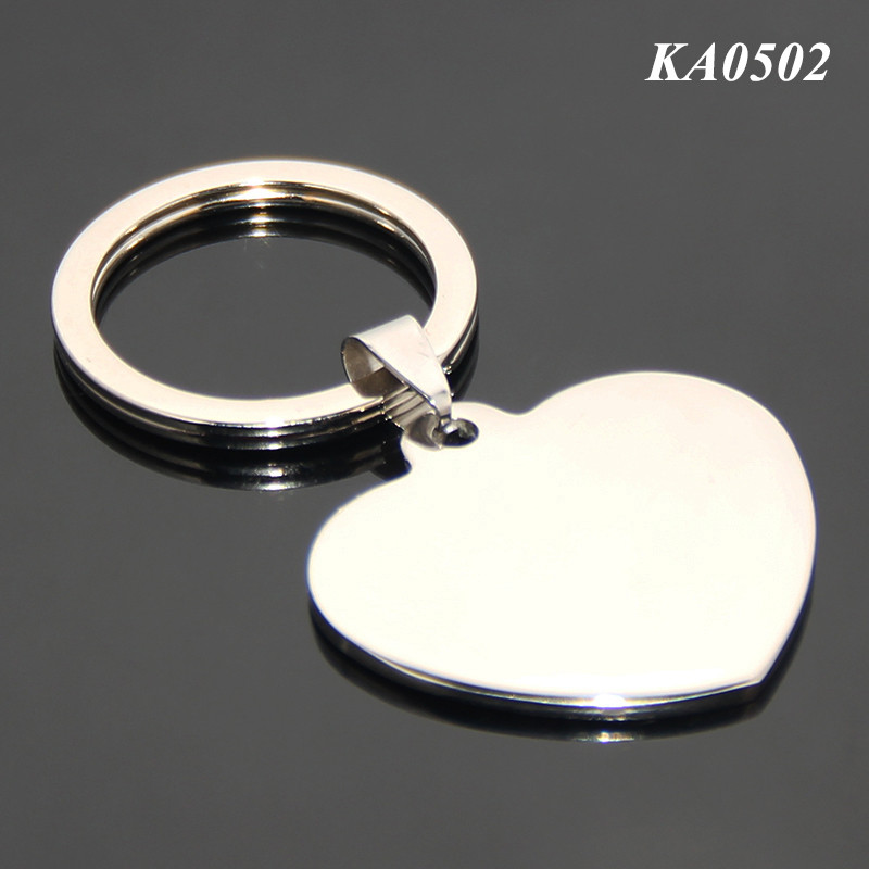 35*33MM Heart Keychain Keyring Lover Romantic Creative Love Heart Shaped Blank Metal Key Ring Stainless Steel