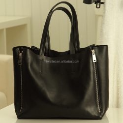 BLACK personalized leather tote bag tote handbag, women tote bag real leather full grain